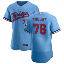 Men Minnesota Twins 76 Alex Kirilloff Men Nike Light Blue Alternate 2020 Flex Base Team MLB Jersey