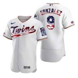 Men Minnesota Twins 9 Marwin Gonzalez Men Nike White Fluttering USA Flag Limited Edition Flex Base MLB Jersey