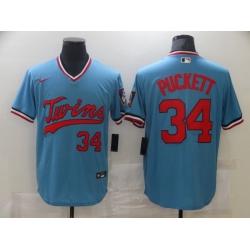 Men Nike Minnesota Twins #34 Kirby Puckett Authentic Blue Jersey