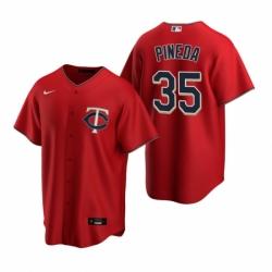 Mens Nike Minnesota Twins 35 Michael Pineda Red Alternate Stitched Baseball Jersey