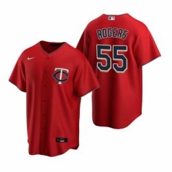 Mens Nike Minnesota Twins 55 Taylor Rogers Red Alternate Stitched Baseball Jersey