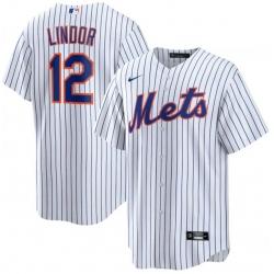 Men New York Mets 12 Francisco Lindor White Nike Cool Base Jersey