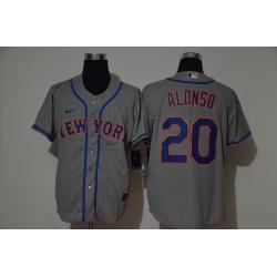 Men New York Mets 20 Pete Alonso Gray 2020 Nike Cool Base Jersey