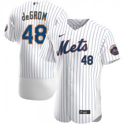 Men New York Mets 48 Jacob deGrom Men Nike White Home 2020 Flex Base Player MLB Jersey