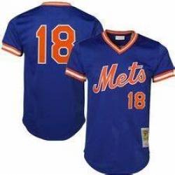 Men New York Mets Authentic Style Vintage Mesh Batting Jersey Darryl Strawberry 18