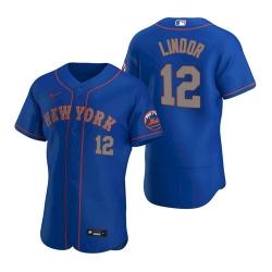Men Nike New York Mets Francisco Lindor Blue Flex Base Stitched Jersey II