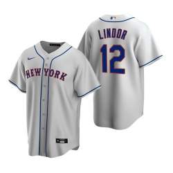 Men Nike New York Mets Francisco Lindor Gray Cool Base Stitched Jersey