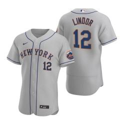 Men Nike New York Mets Francisco Lindor Grey Flex Base Stitched Jersey