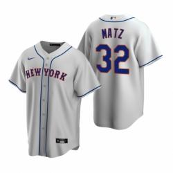 Mens Nike New York Mets 32 Steven Matz Gray Road Stitched Baseball Jerse