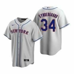 Mens Nike New York Mets 34 Noah Syndergaard Gray Road Stitched Baseball Jerse