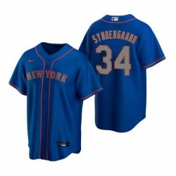 Mens Nike New York Mets 34 Noah Syndergaard Royal Alternate Road Stitched Baseball Jersey