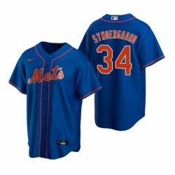 Mens Nike New York Mets 34 Noah Syndergaard Royal Alternate Stitched Baseball Jerse