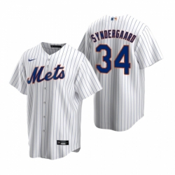 Mens Nike New York Mets 34 Noah Syndergaard White 2020 Home Stitched Baseball Jerse