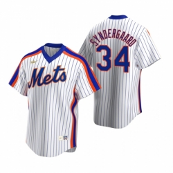 Mens Nike New York Mets 34 Noah Syndergaard White Cooperstown Collection Home Stitched Baseball Jerse