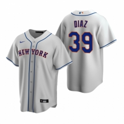 Mens Nike New York Mets 39 Edwin Diaz Gray Road Stitched Baseball Jersey