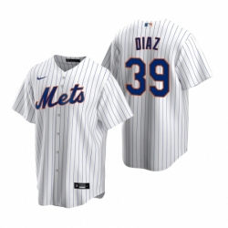 Mens Nike New York Mets 39 Edwin Diaz White 2020 Home Stitched Baseball Jersey