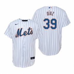 Mens Nike New York Mets 39 Edwin Diaz White Home Stitched Baseball Jersey
