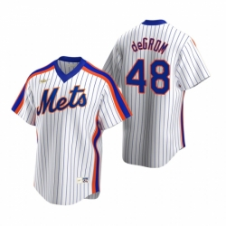 Mens Nike New York Mets 48 Jacob deGrom White Cooperstown Collection Home Stitched Baseball Jerse