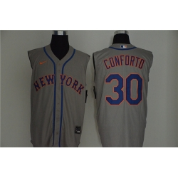 Mets 30 Michael Conforto Gray Nike Cool Base Sleeveless Jersey