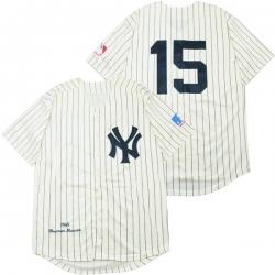 Men New York Yankees 15 Thurman Munson Cream 1969 Throwback Jersey