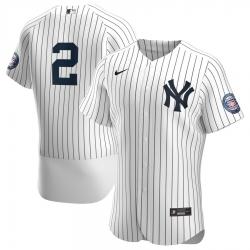 Men New York Yankees 2 Derek Jeter Men Nike White Navy 2020 Hall of Fame Induction Patch Flex Base MLB Jersey