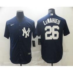 Men New York Yankees 26 DJ LeMahieu Navy Blue White Number Stitched MLB Cool Base Nike Jersey
