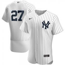 Men New York Yankees 27 Giancarlo Stanton Men Nike White Home 2020 Flex Base Player Team MLB Jersey