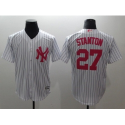 Men New York Yankees 27 Stanton White red Game 2021 MLB Jersey