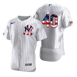Men New York Yankees 40 Luis Severino Men Nike White Fluttering USA Flag Limited Edition Flex Base MLB Jersey