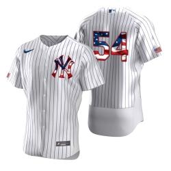 Men New York Yankees 54 Aroldis Chapman Men Nike White Fluttering USA Flag Limited Edition Flex Base MLB Jersey