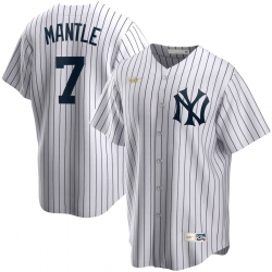 Men New York Yankees 7 Mickey Mantle Nike Home Cooperstown Collection Player MLB Jersey White