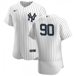 Men New York Yankees 90 Estevan Florial Men Nike White Navy Home 2020 Flex Base Player MLB Jersey