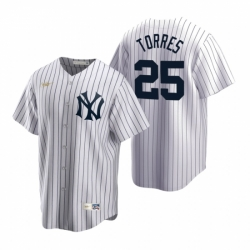 Mens Nike New York Yankees 25 Gleyber Torres White Cooperstown Collection Home Stitched Baseball Jersey