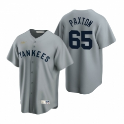 Mens Nike New York Yankees 65 James Paxton Gray Cooperstown Collection Road Stitched Baseball Jersey