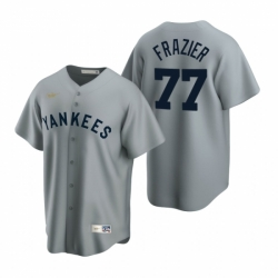 Mens Nike New York Yankees 77 Clint Frazier Gray Cooperstown Collection Road Stitched Baseball Jersey