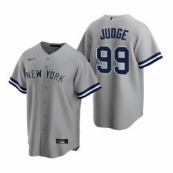 Mens Nike New York Yankees 99 Aaron Judge Gray Road Stitched Baseball Jerse