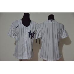 Women Yankees Blank White Women Cool Base Jersey