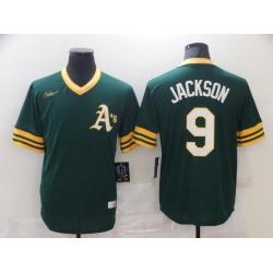 Men Nike Oakland Athletics Reggie Jackson #9 Yellow Green Stitched MLB Jersey