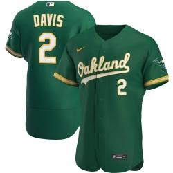 Men Oakland Athletics 2 Khris Davis Men Nike Kelly Green Alternate 2020 Flex Base Player MLB Jersey