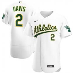 Men Oakland Athletics 2 Khris Davis Men Nike White Home 2020 Flex Base Player MLB Jersey