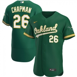 Men Oakland Athletics 26 Matt Chapman Men Nike Kelly Green Alternate 2020 Flex Base Player MLB Jersey