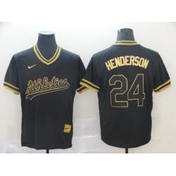 Men Oakland Athletics Rickey Henderson Black Gold Cooperstown Collection Legend V Neck Jersey