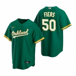 Mens Nike Oakland Athletics 50 Mike Fiers Green Alternate Stitched Baseball Jersey