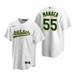 Mens Nike Oakland Athletics 55 Sean Manaea White Home Stitched Baseball Jersey
