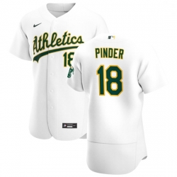 Oakland Athletics 18 Chad Pinder Men Nike White Home 2020 Authentic Player MLB Jersey