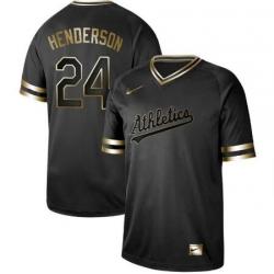 Oakland Athletics  24 Ricky Henderson Oakland Athletics Black Golden Jersey