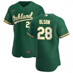 Oakland Athletics 28 Matt Olson Men Nike Kelly Green Alternate 2020 Authentic Player MLB Jersey