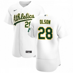Oakland Athletics 28 Matt Olson Men Nike White Home 2020 Authentic Player MLB Jersey