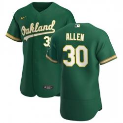 Oakland Athletics 30 Austin Allen Men Nike Kelly Green Alternate 2020 Authentic Player MLB Jersey