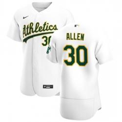 Oakland Athletics 30 Austin Allen Men Nike White Home 2020 Authentic Player MLB Jersey